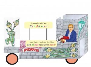 """Der Wagen-Entwurf der Spiesratze zum Rosenmonatg 2013 - mit derm damaligen Oberbürgermeister Dirk Elbers als """"Vollstrecker""""."""