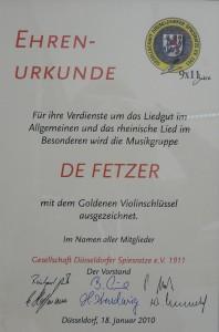 Die Ehrenurkunde zur Verleihung des Goldenen Violinschlüssels
